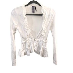 Guess White Ruffle Front Long Sleeve Wrap Top